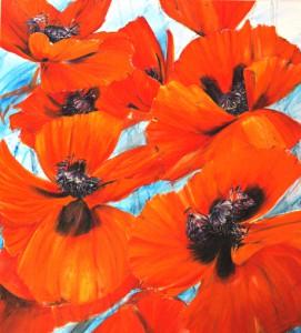 Bloem 32 - 180 x 200 cm- acryl op linnen